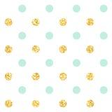 圆点 经典之作被加点的无缝的金子闪烁样式 也corel凹道例证向量 免版税库存图片