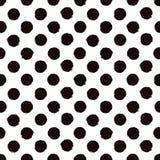 圆点黑白被绘的无缝的样式 库存照片