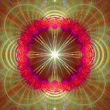 圆环和波浪装饰结构围拢的星,全部在光亮桃红色,紫色,绿色 图库摄影