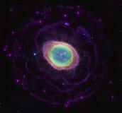 圆环星云在星空间背景中 库存例证
