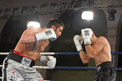 圆环的拳击手在为排列的战斗期间指向 免版税库存照片