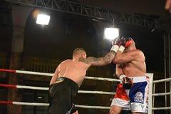 圆环的拳击手在为排列的战斗期间指向 库存照片