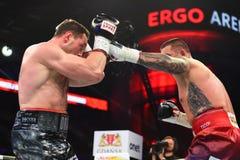 圆环的未认出的拳击手在为排列的战斗期间指向 免版税库存图片