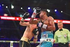 圆环的未认出的拳击手在为排列的战斗期间指向 图库摄影