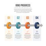 圆环进展Infographic 图库摄影