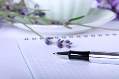 圆珠笔空白书食谱 库存图片