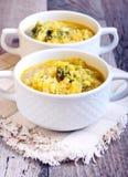圆白菜、硬花甘蓝和扁豆汤 免版税库存照片