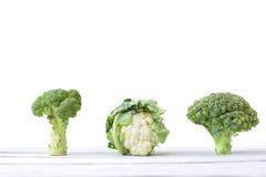 圆白菜、硬花甘蓝和花椰菜 库存照片