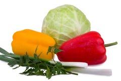 圆白菜、胡椒和葱 图库摄影