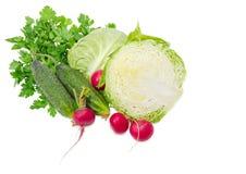 圆白菜切成了两半,两个黄瓜、红色萝卜和荷兰芹 免版税库存照片