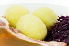 圆白菜剁饺子猪肉红色 库存图片