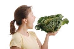 圆白菜吃查出的开胃菜对想要妇女 库存图片