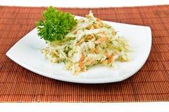圆白菜和红萝卜沙拉(凉拌卷心菜) 免版税库存照片