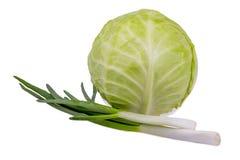 圆白菜和葱 免版税库存图片