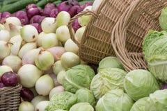 圆白菜和葱 免版税库存照片