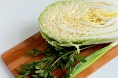 圆白菜和绿色调味料 免版税库存图片