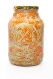 圆白菜在白色的用卤汁泡的对象 免版税库存照片