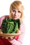 圆白菜新鲜的葱开胃菜妇女 库存图片