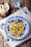 圆白菜汤用烟肉,土豆,肉,陶瓷板材,面包 库存照片