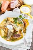 圆白菜汤用蘑菇和大麦米 俄国人/斯洛伐克烹调 库存图片