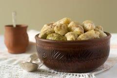 圆白菜滚动用肉、米和菜 Dolma、sarma, sarmale, golubtsy或者golabki 库存照片