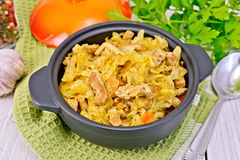 圆白菜炖煮的食物用在黑罐的肉在餐巾 库存图片