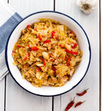 圆白菜炖煮的食物,土耳其食物Zeytinyagli kapuska 库存图片