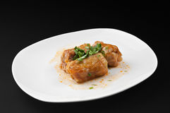 圆白菜用米和螺母 库存照片