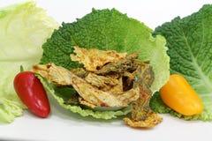从圆白菜的菜芯片 免版税库存照片