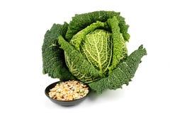圆白菜绿色脉冲汤 库存图片