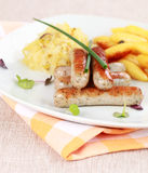 圆白菜香肠酸白色 免版税库存图片