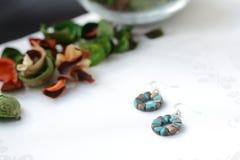 圆的串珠的耳环蓝绿色和古铜颜色 库存照片
