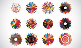 圆的五颜六色的同心几何形状 免版税图库摄影
