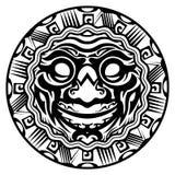 圆的传染媒介微笑的面孔玻利尼西亚人纹身花刺 免版税库存图片