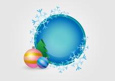 圆的冬天圣诞节框架 免版税库存照片