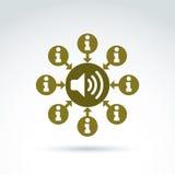 圆的咨询标志,电话中心象,信息标志 P 免版税库存图片