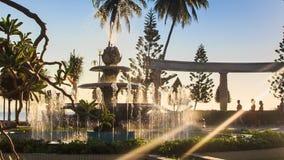 圆的喷泉在热带公园操作改变的喷气机 影视素材