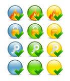 圆的图标互联网证券集 免版税库存照片
