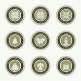 圆的圣诞节象征,集合 免版税图库摄影