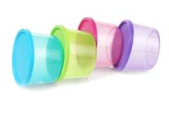 圆的塑胶容器 免版税库存照片