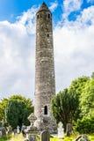 圆的塔在Glendalough,爱尔兰 库存照片