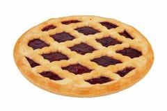 圆的开胃蛋糕用樱桃果酱 库存照片