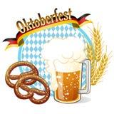 圆的慕尼黑啤酒节庆祝横幅用啤酒,椒盐脆饼,麦子ea 免版税库存图片