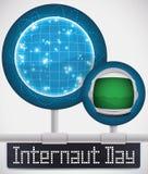 圆的按钮被连接到网庆祝网路用户天,传染媒介例证 库存图片