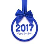 圆的新年快乐2017,蓝色横幅 向量例证