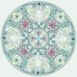 圆的有花边的样式印地安样式坛场 库存图片