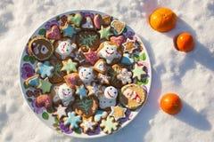 圆的板材用以心脏、星、花、圣诞树、圣诞老人和雪人的形式五颜六色的姜曲奇饼 图库摄影