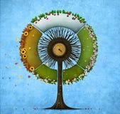 圆的树四个季节 免版税库存图片