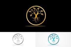圆的树金子商标 皇族释放例证