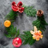 圆的框架由冬天树做成,石榴石,普通话 桂香和茴香在黑暗的背景 概念新年度 平的位置 顶视图 图库摄影